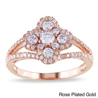 Miadora Rose or White Goldplated Silver Cubic Zirconia Fashion Ring