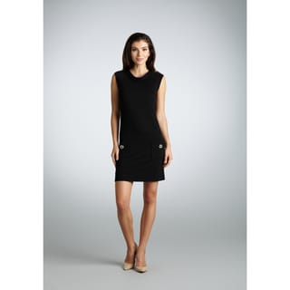Muse Women's Black Ponte Shift Front Pocket Dress