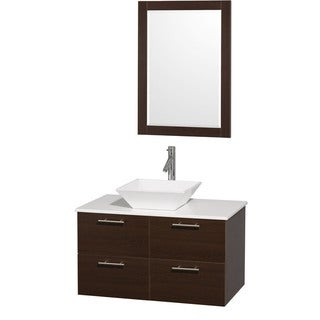Wyndham Collection 'Amare' 36-inch Espresso/ White Top/ White Sink Vanity Set