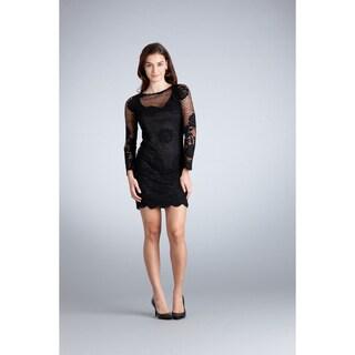 Muse Women's Black Illusion Neck Scalloped Hem Dress