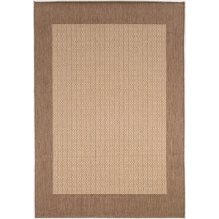 Recife Natural Cocoa Checkered Rug (5'10 x 9'2)