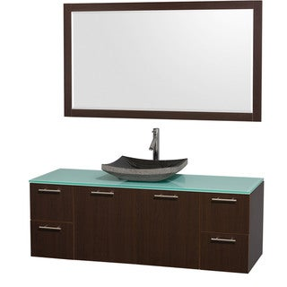 Wyndham Collection 'Amare' 60-inch Espresso/ Green Top/ Granite Sink Vanity Set