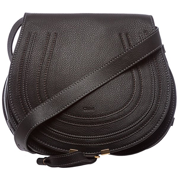 Chloe 'Marcie' Medium Black Leather Round Crossbody Bag