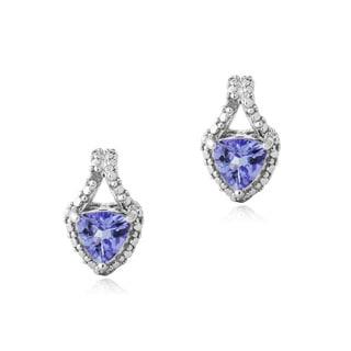 Glitzy Rocks Glitzy Rocks Sterling Silver Tanzanite and Diamond Accent Earrings
