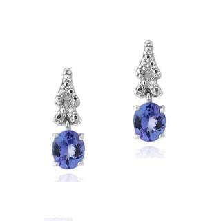 Glitzy Rocks Sterling Silver Tanzanite and Diamond Accent Dangle Earrings