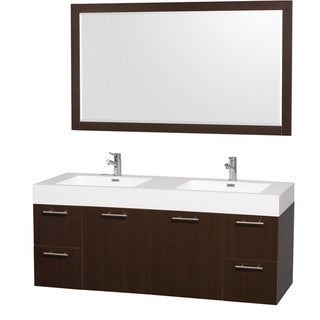 Wyndham Collection 'Amare' 60-inch Espresso/ White Double Vanity Set