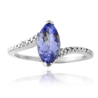 Glitzy Rocks Sterling Silver Blue Tanzanite and Diamond Ring