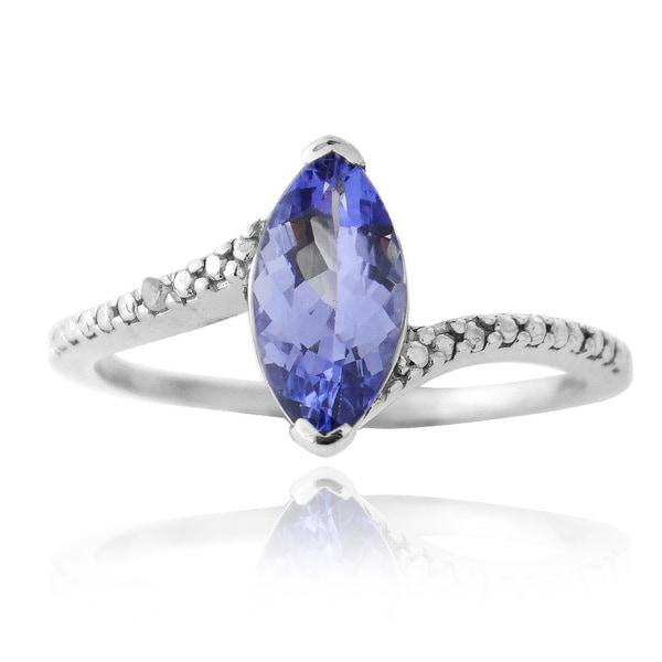 Glitzy Rocks Sterling Silver Blue Tanzanite and Diamond Ring