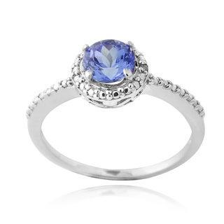 Glitzy Rocks Sterling Silver Tanzanite and Diamond Ring