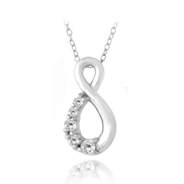 Glitzy Rocks Sterling Silver White Topaz Infinity Necklace