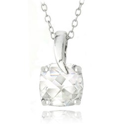 Glitzy Rocks Sterling Silver White Topaz Square Solitaire Necklace