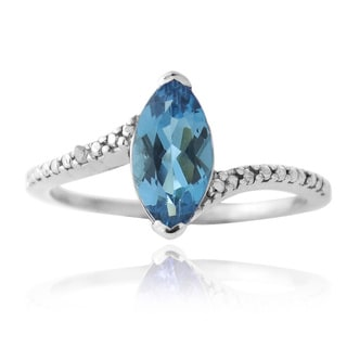 Glitzy Rocks Silver London Blue Topaz and Diamond Accent Solitaire Ring