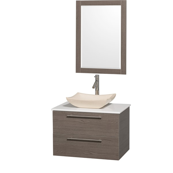 Wyndham Collection 'Amare' 30-inch Grey Oak/ White Top/ Ivory Sink Vanity Set