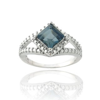Glitzy Rocks Silver London Blue Topaz and Diamond Accent Square Ring