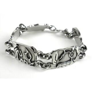 Mayan Glyph Alpaca Silver Link Bracelet (Mexico)