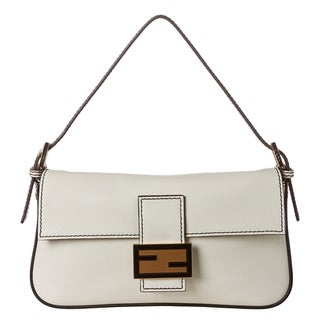 Fendi Cream Leather Baguette with Dual Straps