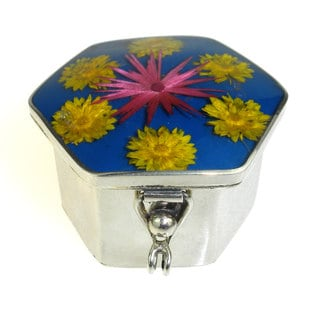 Alpaca Silver and Nahua Flower Pill Box (Mexico)