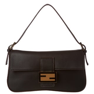 Fendi Black Leather Baguette with Dual Straps