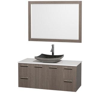 Wyndham Collection 'Amare' 48-inch Grey Oak/ White Top/ Granite Sink Vanity Set