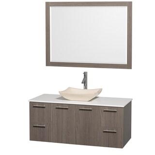 Bathroom Vanities on Collection  Amare  48 Inch Grey Oak  White Top  Marble Sink Vanity Set