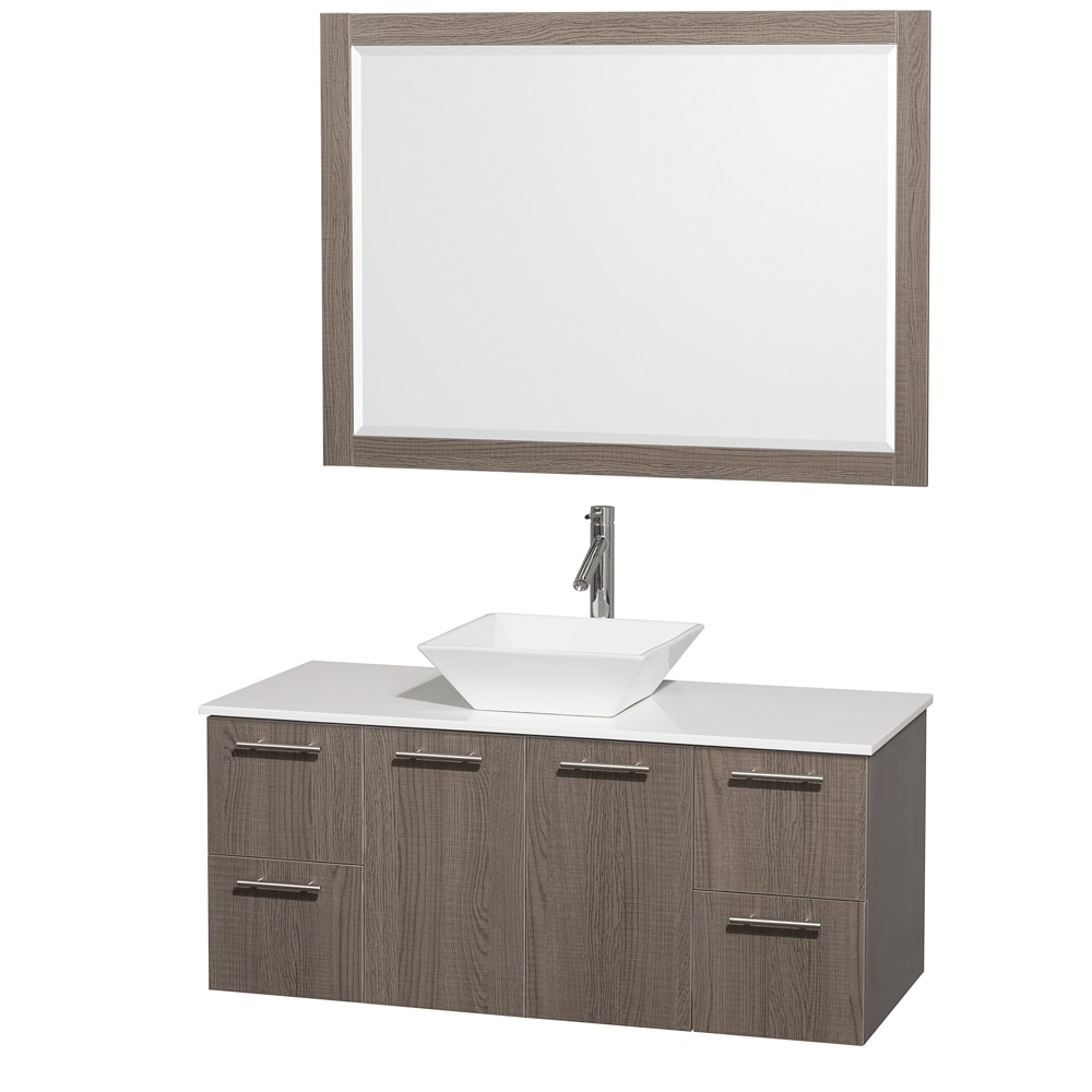 Wyndham Collection 'Amare' 48-inch Grey Oak/ White Top/ White Sink Vanity Set at Sears.com
