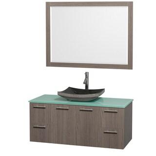 Wyndham Collection 'Amare' 48-inch Grey Oak/ Green Top/ Granite Sink Vanity Set