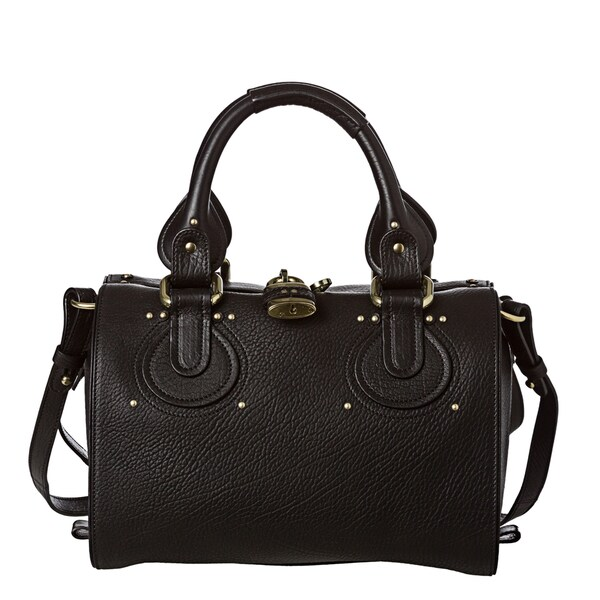 Chloe Small Black Textured Leather Satchel Bag