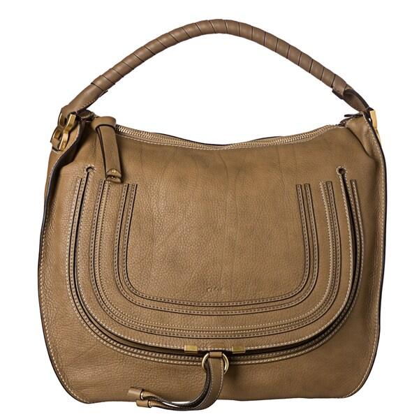 Chloe \u0026#39;Marcie\u0026#39; Large Nut Leather Hobo Bag - 15116220 - Overstock ...