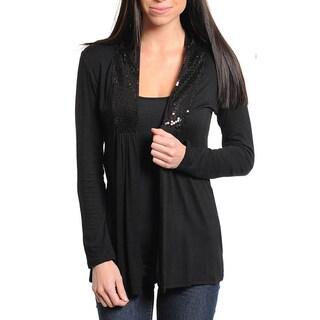 Stanzino Women's Black Long Sleeve Sequined Collar Open Front Top