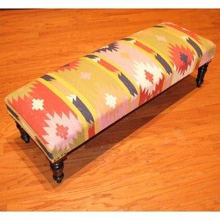 Handmade Kilim Dark Sheesham Wooden Leg Bench