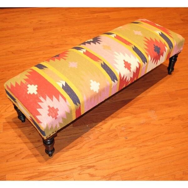 Handmade Kilim Dark Sheesham Wooden Leg Bench