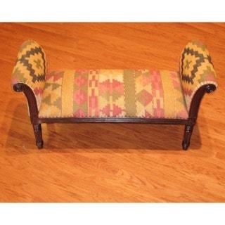 Handmade Kilim Upholstered Scroll Bench