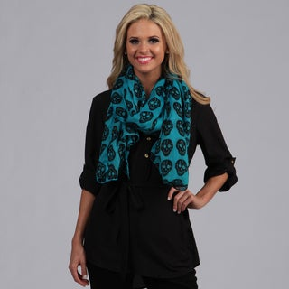 Peach Couture Turquoise and Black Skull Printed Scarf