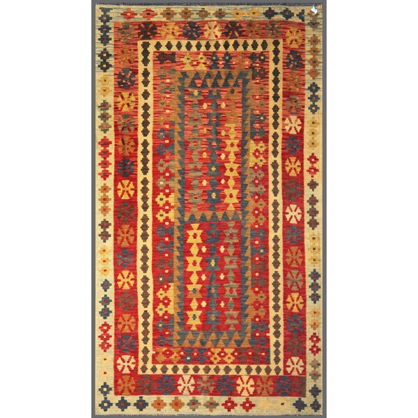 Afghan Hand-knotted Mimana Kilim Red/ Ivory Wool Rug (3'8 x 6'5)