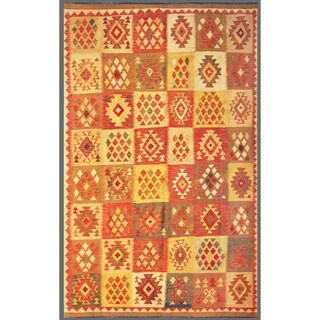 Afghan Hand-knotted Mimana Kilim Red/ Ivory Wool Rug (5'3 x 8'4)