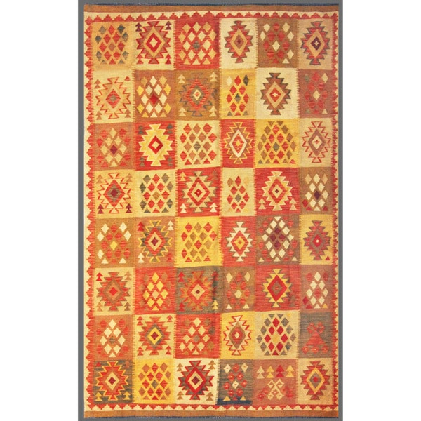 Herat Oriental Afghan Hand-knotted Mimana Kilim Red/ Ivory Wool Rug (5'3 x 8'4)