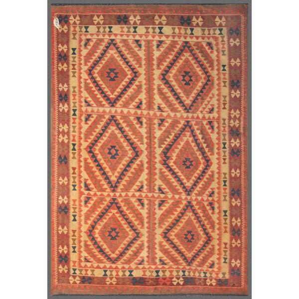 Afghan Hand-knotted Mimana Kilim Red/ Ivory Wool Rug (5'9 x 8'2)