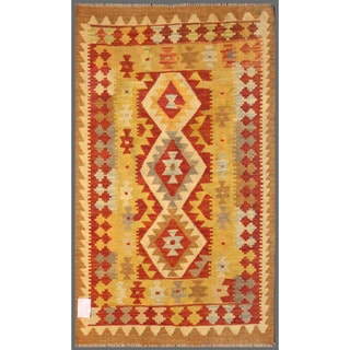 Herat Oriental Afghan Hand-knotted Mimana Kilim Gold/ Red Wool Rug (2'11 x 4'10)
