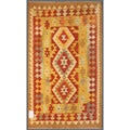 Afghan Hand-knotted Mimana Kilim Gold/ Red Wool Rug (2'11 x 4'10)