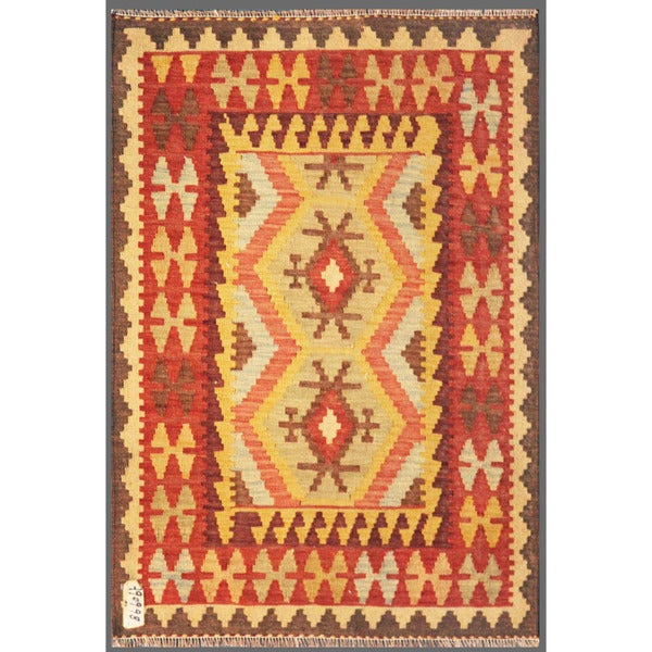 Afghan Hand-knotted Mimana Kilim Red/ Ivory Wool Rug (3'3 x 4'7)