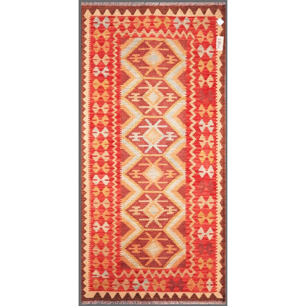 Afghan Hand-knotted Mimana Kilim Pink/ Ivory Wool Rug (3'3 x 6'8)