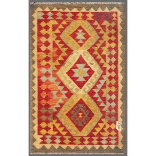 Afghan Hand-knotted Mimana Kilim Red/ Yellow Wool Rug (2'10 x 4'7)