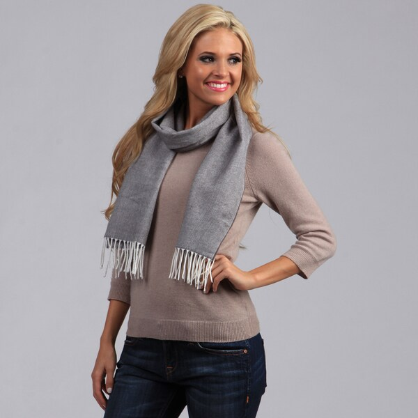 Peach Couture Grey with White Fringe Scarf