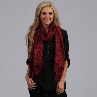 Peach Couture Red Leopard Print Pashmina Wrap Scarf