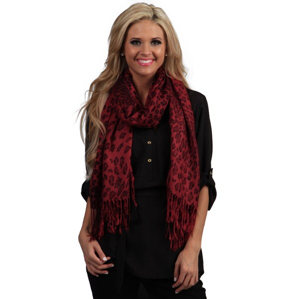 Peach Couture Red Leopard Print Wrap Scarf