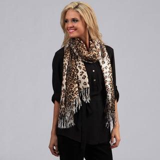 Peach Couture Leopard Print Wrap Scarf