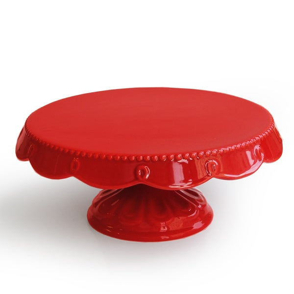 American Atelier Red Scalloped Plate