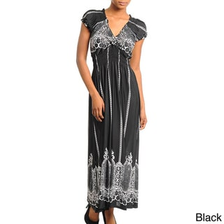 Stanzino Women's Printed Smocked Empire Waist Maxi Dress