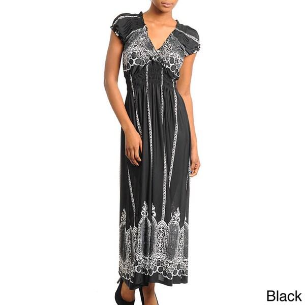 Stanzino Women's Printed Smocked Empire Waist Maxi Dress
