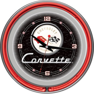 Black Corvette C1 14-inch Red Neon Clock